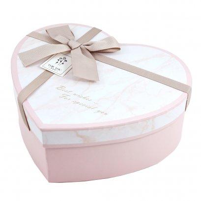 กล่องสำเร็จรูป ทรงหัวใจ หินอ่อนสีชมพู (ใหญ่)