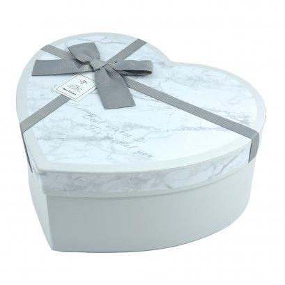 กล่องสำเร็จรูป ทรงหัวใจ หินอ่อนสีเทา (เล็ก)