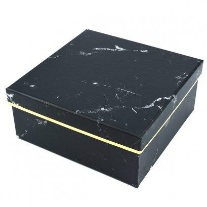 กล่องสำเร็จรูป สี่เหลี่ยมจตุรัส ลายหินอ่อนสีดำ (ใหญ่)