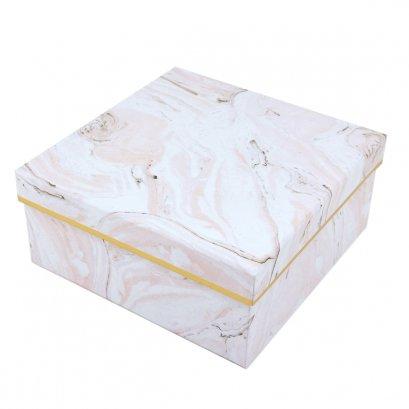 กล่องสำเร็จรูป สี่เหลี่ยมจตุรัส ลายหินอ่อนสีชมพู (เล็ก)
