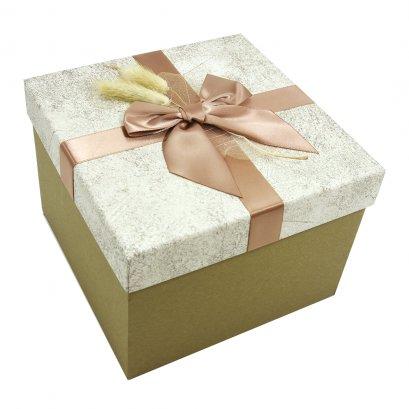 กล่องสำเร็จรูป สี่เหลี่ยม สีน้ำตาลทอง (กลาง)
