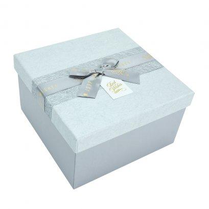 กล่องสำเร็จรูป สี่เหลี่ยม สีเทา Best Wishes (ใหญ่)
