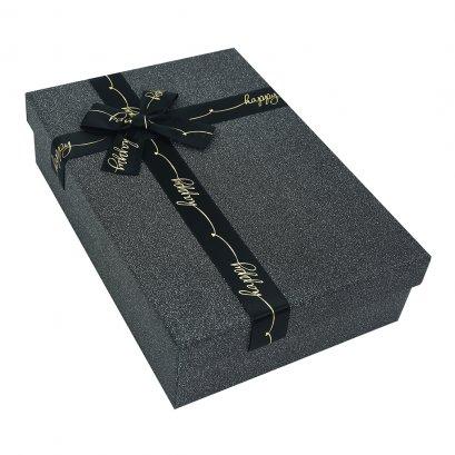 กล่องสำเร็จรูป สี่เหลี่ยมผืนผ้า สีดำ Happy (กลาง)