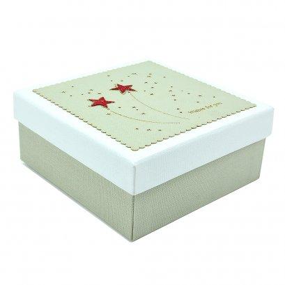 กล่องสำเร็จรูป ทรงสีเหลี่ยม ลายดาว (เล็ก)