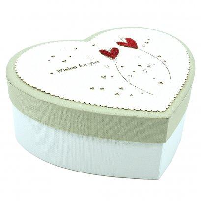 กล่องสำเร็จรูป ทรงหัวใจ ลายหัวใจ (เล็ก)