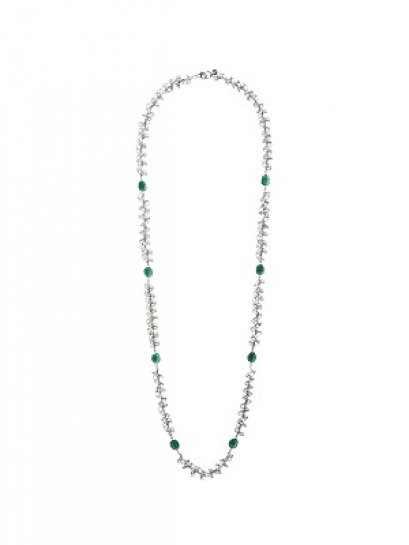 Silver Swirl Green Agate Long Necklace