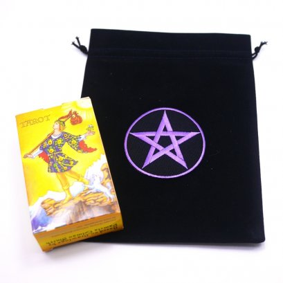 Black Slipknot Bags with Purple Pentacle