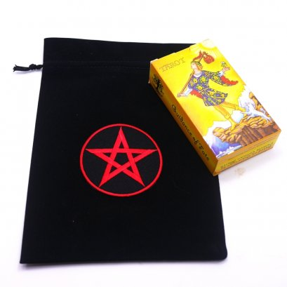 Black Slipknot Bags with Red Pentacle