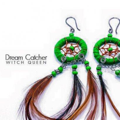 ต่างหูตาข่ายดักฝัน สีเขียว