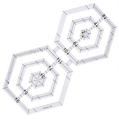 เทมเพลทอะคริลิทรง hexagon ช่วยในการต่อผ้า ราคา/อัน