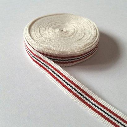 เทปผ้า Cotton ลายทางแดงน้ำเงิน พื้นขาว ขนาด 12 mm.หลาละ