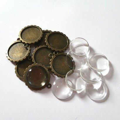 หัวซิปทองดำ พร้อมกระจก แบบกลม ขนาด 20  mm. 8 ชุด/set