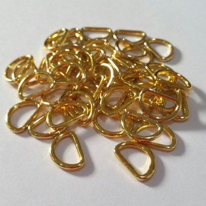 ห่วงตัว D สีทอง สำหรับสายกระเป๋า กว้าง 1.2 cm. ราคา 4 ชิ้น/แพ็ค