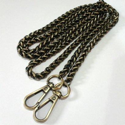 สายกระเป๋าโซ่เหล็กสี เหลืองปัดดำ กว้าง 7 mm.ยาว 120 cm.