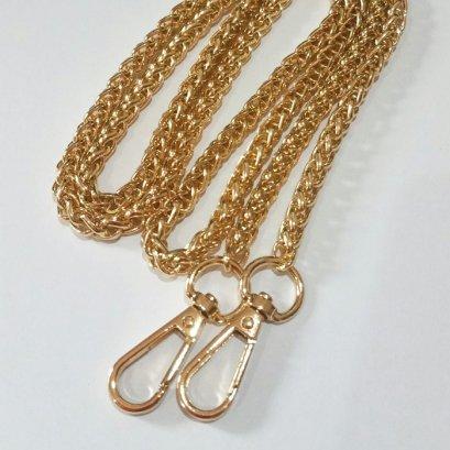 สายกระเป๋าโซ่เหล็กสี light gold กว้าง 7 mm.ยาว 120 cm.