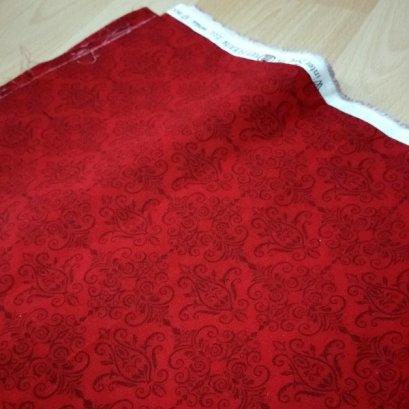 ผ้า cotton ไทย โทนแดง ขนาด 1/4 เมตร (50*55 ซม.)