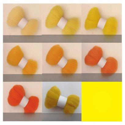 ใยขนแกะ โทนเหลืองส้ม ก้อนละ 10 g. (เลือกสีด้านใน)