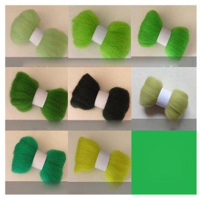 ใยขนแกะ โทนเขียว ก้อนละ 5 g. (เลือกสีด้านใน)