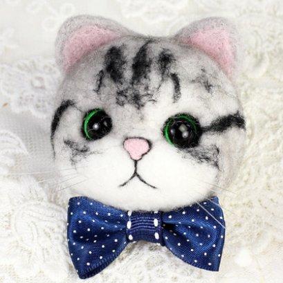 Kit set Felting หัวแมว สูงประมาณ 5.5 cm.ราคาชุดละ