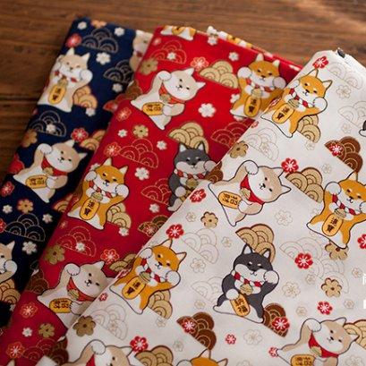 ผ้า cotton ลายหมาชิบะ ขนาด 1/4 ม. (50 x 55 ซม.)
