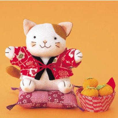 แมวใส่ชุดกิโมโน ผ้าญี่ปุ่น ขนาด 14 cm.