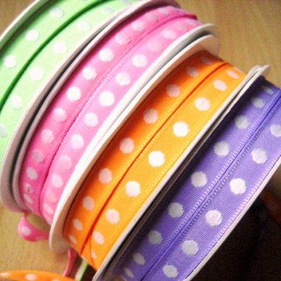 เทปผ้าลายจุดสีสดใส ขนาด 1 cm. ราคาหลาละ