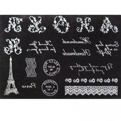 แผ่นรีดติดผ้า กำมะหยี่ ลาย Paris and lace (มีให้เลือก 4 สีค่ะ)