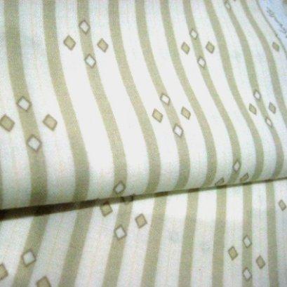 ผ้า cotton American Country ลายทางข้าวหลามตัดโทนครีม ขนาด 1/8 m.(25*55 cm.)