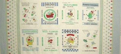 ผ้า cotton & linen ญี่ปุ่น บล๊อคถุงแป้งสาลีลาย Garden Collection สีฟ้า ขนาด 140*50 ซม.