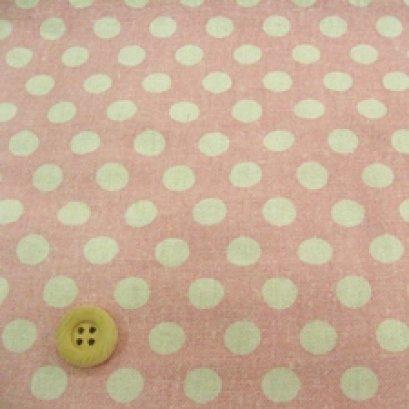 ผ้า cotton & linen ญี่ปุ่น ถุงแป้งลายจุดขาวพื้นชมพู ขนาด 1/9 เมตร (33*45ซม.)