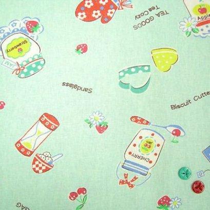ผ้า cotton & linen ญี่ปุ่น ถุงแป้งลายขวดแยมพื้นผ้าสีฟ้า ขนาด 1/9 เมตร (33*45ซม.)
