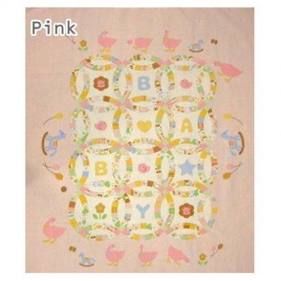ผ้าบล๊อค Baby Quilt ญี่ปุ่น โทนชมพู ขนาด 90*110 cm.