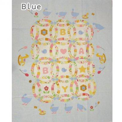 ผ้าบล๊อค Baby Quilt ญี่ปุ่น โทนฟ้า ขนาด 90*110 cm.