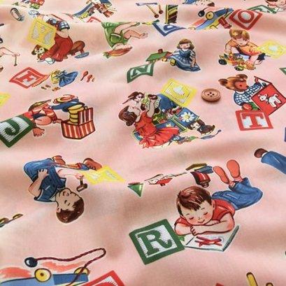 ผ้า cotton ญี่ปุ่น  ลาย Candy Party Toy & Building Block พื้นชมพู ขนาด 1/4 m.(50*55 cm.)