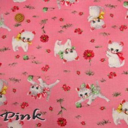 ผ้า cotton USA ลายแมว พื้นชมพู ขนาด 1/4 m.(50*55 cm.)