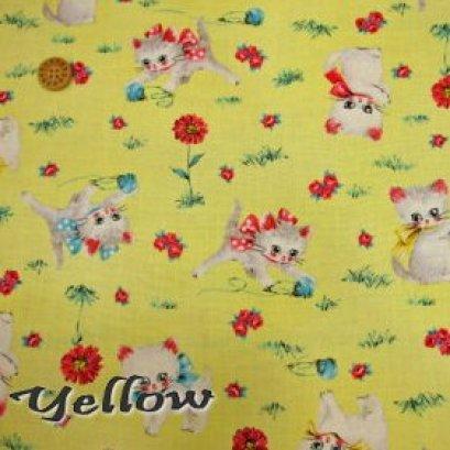 ผ้า cotton USA ลายแมว พื้นเหลือง ขนาด 1/4 m.(50*55 cm.)