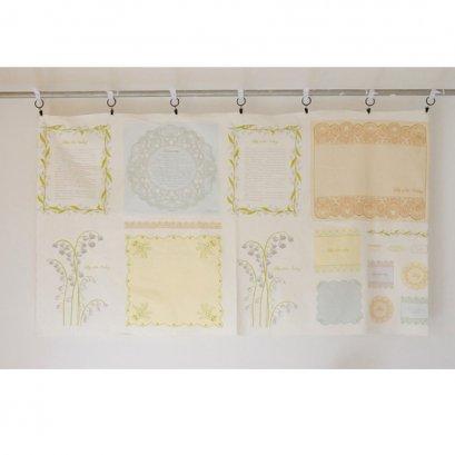 ผ้าบล๊อค cotton lily of the vally โทนฟ้า เหลือง ขนาด 116*80 cm.
