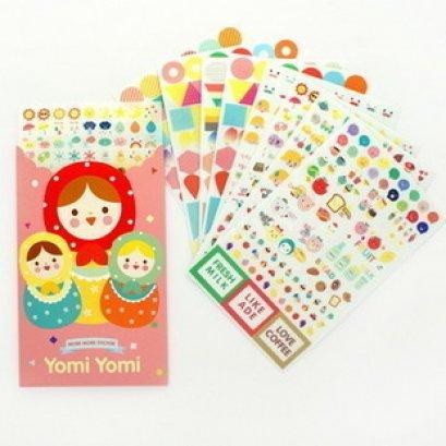 Sticker ชุดตุ๊กตารัสเซีย ใน set มี 8 แผ่น ขนาด 16*10 cm.