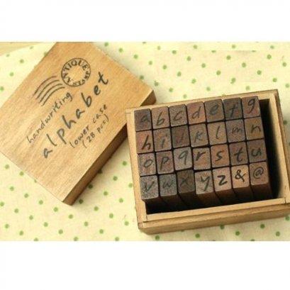 Stamp Set ตัวอักษรภาษาอังกฤษตัวพิมพ์เล็ก ตัวเอียง ขนาดทั้งเซ็ท 6.5 x 8 x 5 cm.