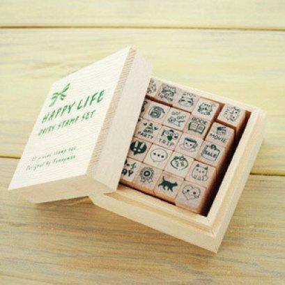 Stamp Set ชุด Happy Life ขนาดของตัวแสตมป์ 1.2*1.2*3.9 cm.รวม 25 ตัว