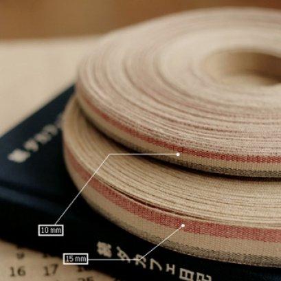 เทปผ้า Cotton linen  โทนแดง ขนาด 15 mm.หลาละ