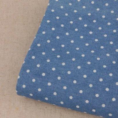 ผ้า Cotton ยีนส์เนื้อบางลายจุดพื้นสีเข้ม สามารถเย็บด้วยมือได้  ขนาด 1/4 หลา (45 x 75 cm.)