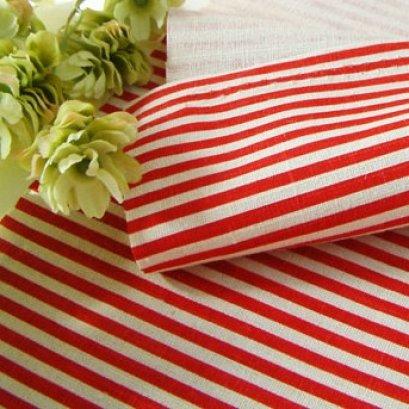 ผ้า cotton linen ลายทาง โทนแดง ขนาด 1/4 ม. (50*70cm.)