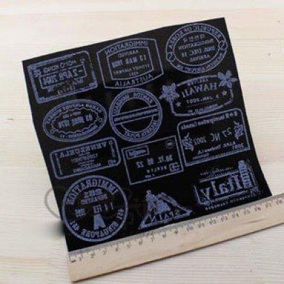กำมะหยี่ แผ่นรีดติดผ้า ขนาดต่อแผ่น 17 x 17 cm.  ราคาแผ่นละ