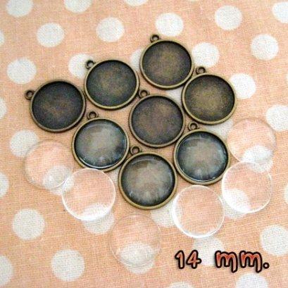 หัวซิปทองดำ พร้อมกระจก แบบกลม ขนาด 14 mm. 8 ชุด/set