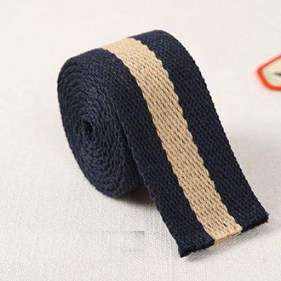 สายกระเป๋า cotton น้ำเงิน เส้นใหญ่ กว้าง 3.8 cm. ราคาหลาละ (90 cm.)