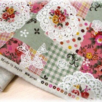 ผ้า cotton linen ญี่ปุ่น ลาย patchwork ดอกพื้นเขียว ขนาด 1/4 m. (50*55 ซม.)