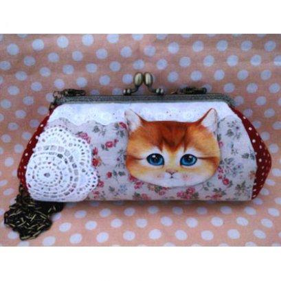 ชุด Cat Pikpak Kit พร้อมสายโซ่ ขนาดปากกระเป๋า 18 cm. (ชุดนี้ไม่มีเข็มและด้ายนะคะ)
