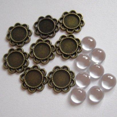 หัวซิปทองดำ พร้อมกระจก แบบกลมมีกลีบ ขนาด 10 mm. 8 ชุด/set