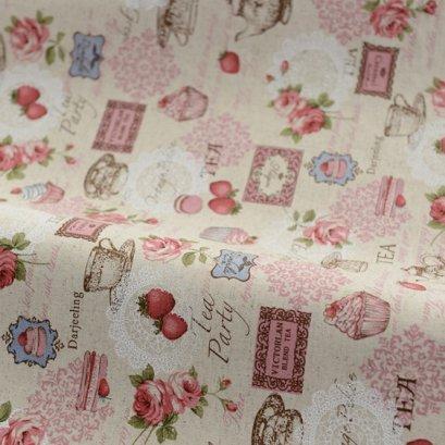 ผ้า cotton linen ลาย caramel tea โทนชมพู ขนาด 1/4 เมตร (50*70 ซม.)